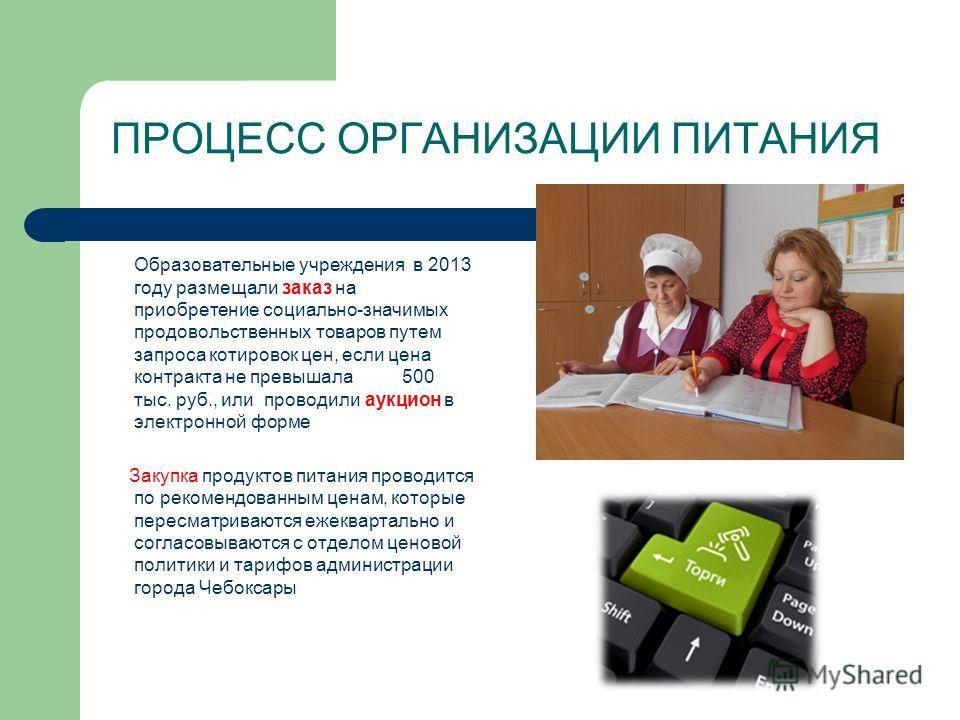 ПРОЦЕСС ОРГАНИЗАЦИИ ПИТАНИЯ Образовательные учреждения в 2013 году размещали заказ на приобретение социально-значимых продовольственных товаров путем запроса котировок цен, если цена контракта не превышала 500 тыс. руб., или проводили аукцион в элект