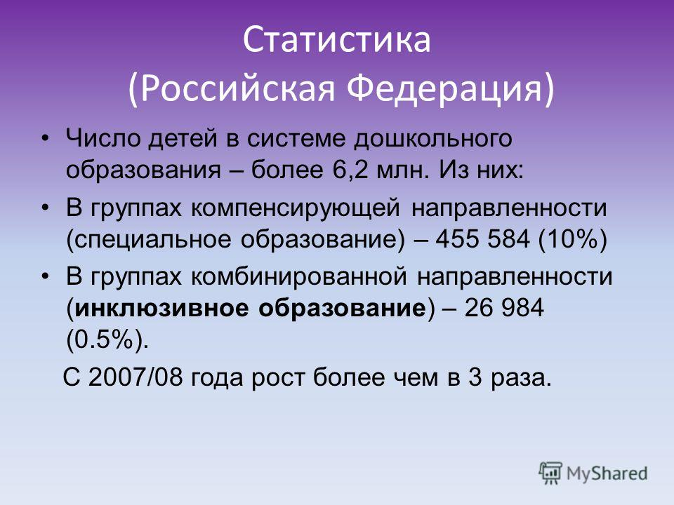 Статистика (Российская Федерация) Число детей в системе дошкольного образования – более 6,2 млн. Из них: В группах компенсирующей направленности (специальное образование) – 455 584 (10%) В группах комбинированной направленности (инклюзивное образован