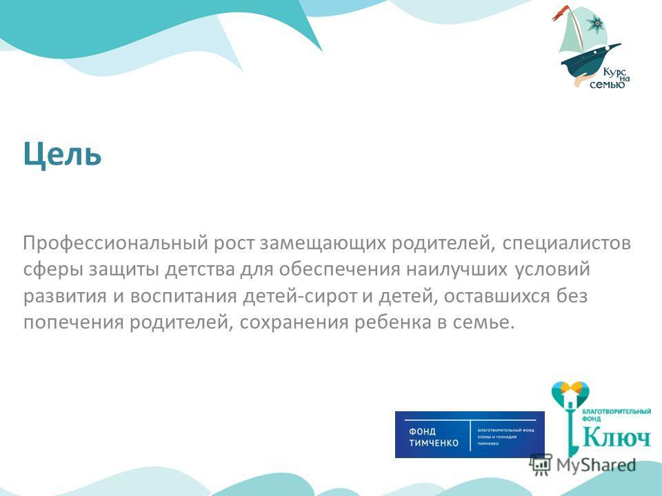 Цель Профессиональный рост замещающих родителей, специалистов сферы защиты детства для обеспечения наилучших условий развития и воспитания детей-сирот и детей, оставшихся без попечения родителей, сохранения ребенка в семье.