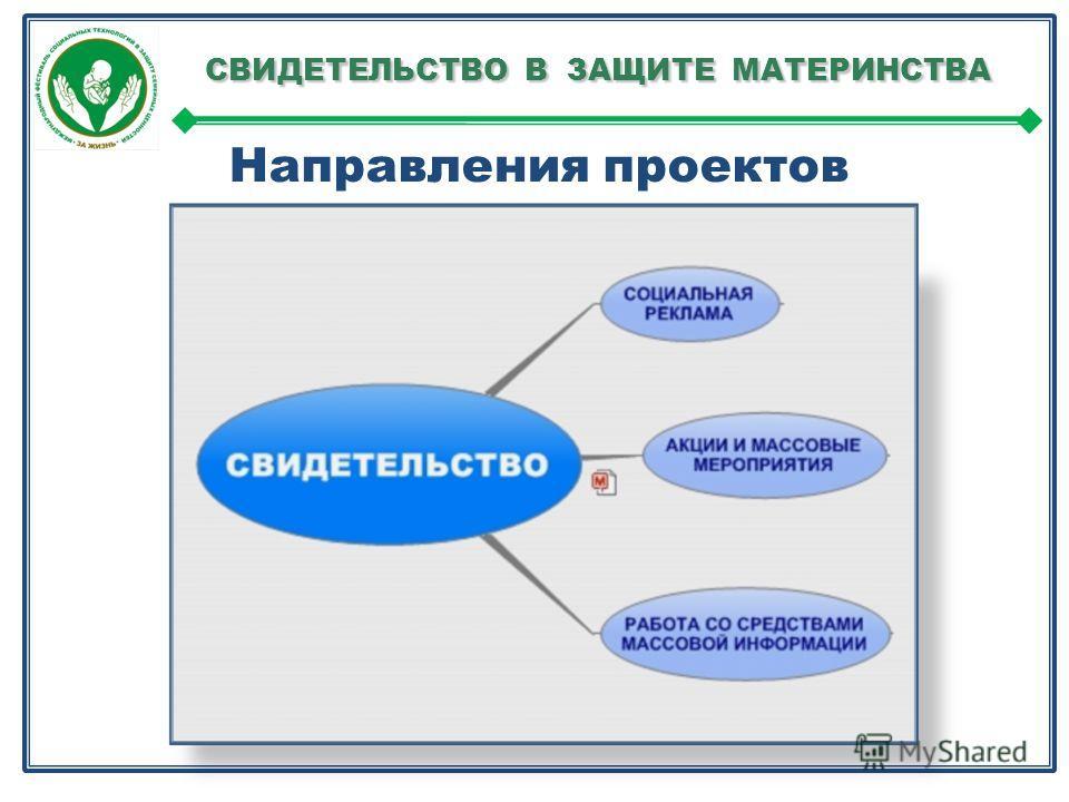 СВИДЕТЕЛЬСТВО В ЗАЩИТЕ МАТЕРИНСТВА СВИДЕТЕЛЬСТВО В ЗАЩИТЕ МАТЕРИНСТВА Направления проектов