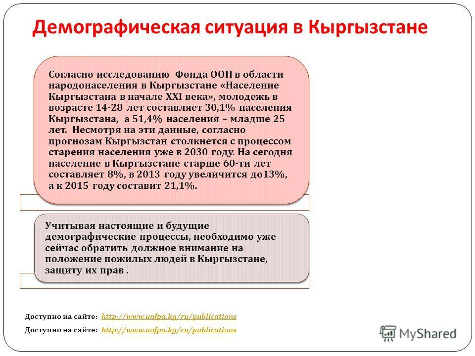 Демографическая ситуация в Кыргызстане Доступно на сайте : http://www.unfpa.kg/ru/publicationshttp://www.unfpa.kg/ru/publications Доступно на сайте : http://www.unfpa.kg/ru/publicationshttp://www.unfpa.kg/ru/publications Согласно исследованию Фонда О
