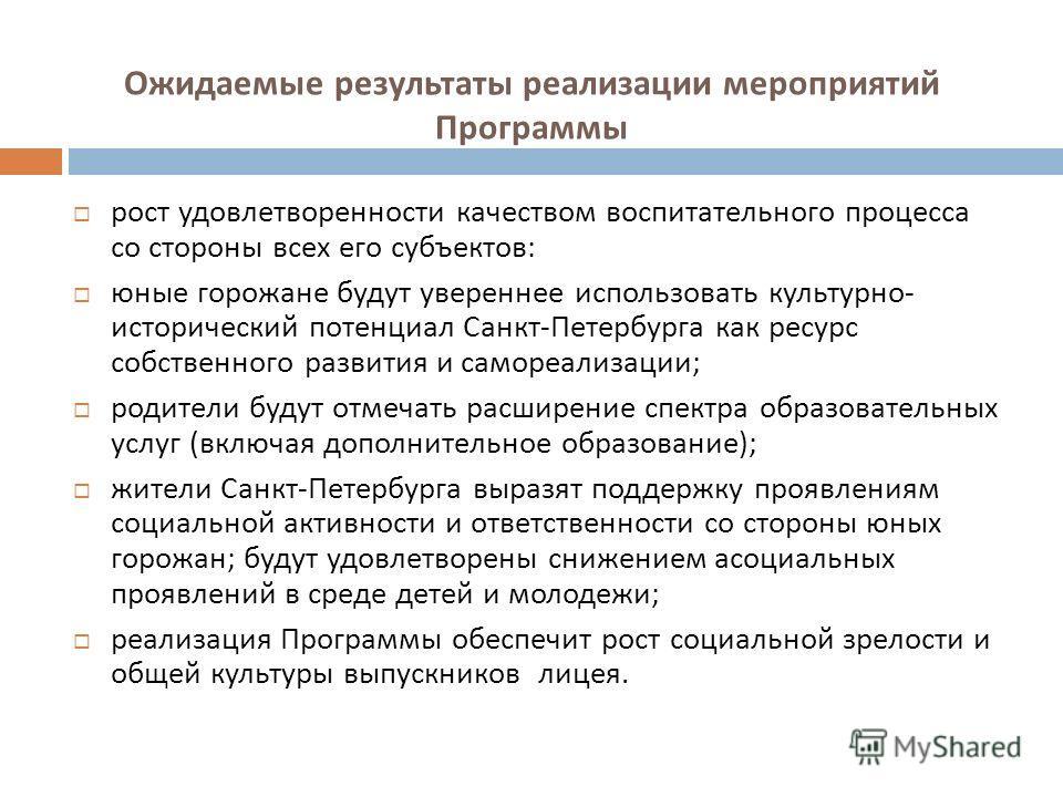 Ожидаемые результаты реализации мероприятий Программы рост удовлетворенности качеством воспитательного процесса со стороны всех его субъектов : юные горожане будут увереннее использовать культурно - исторический потенциал Санкт - Петербурга как ресур