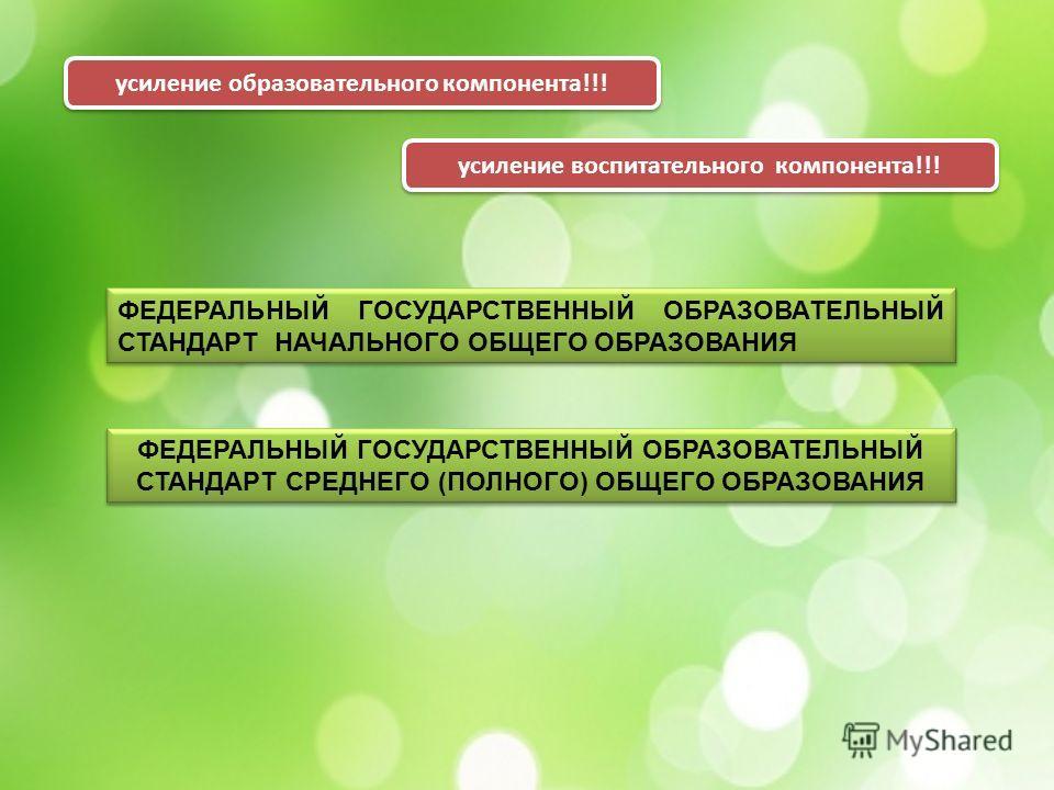 усиление образовательного компонента!!! усиление воспитательного компонента!!! ФЕДЕРАЛЬНЫЙ ГОСУДАРСТВЕННЫЙ ОБРАЗОВАТЕЛЬНЫЙ СТАНДАРТ СРЕДНЕГО (ПОЛНОГО) ОБЩЕГО ОБРАЗОВАНИЯ ФЕДЕРАЛЬНЫЙ ГОСУДАРСТВЕННЫЙ ОБРАЗОВАТЕЛЬНЫЙ СТАНДАРТ СРЕДНЕГО (ПОЛНОГО) ОБЩЕГО О