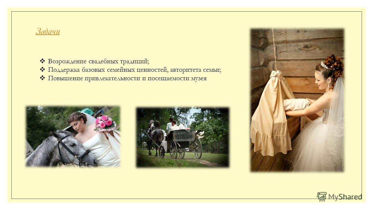 Задачи Возрождение свадебных традиций; Поддержка базовых семейных ценностей, авторитета семьи; Повышение привлекательности и посещаемости музея