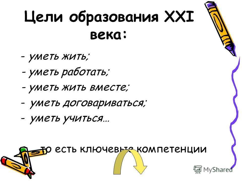 Цели образования XXI века: - уметь жить; - уметь работать; - уметь жить вместе; -уметь договариваться; -уметь учиться… …то есть ключевые компетенции