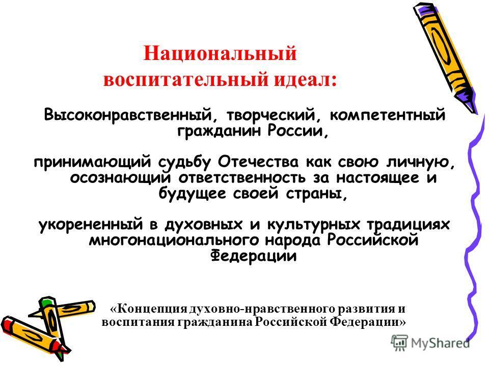 Национальный воспитательный идеал: Высоконравственный, творческий, компетентный гражданин России, принимающий судьбу Отечества как свою личную, осознающий ответственность за настоящее и будущее своей страны, укорененный в духовных и культурных традиц