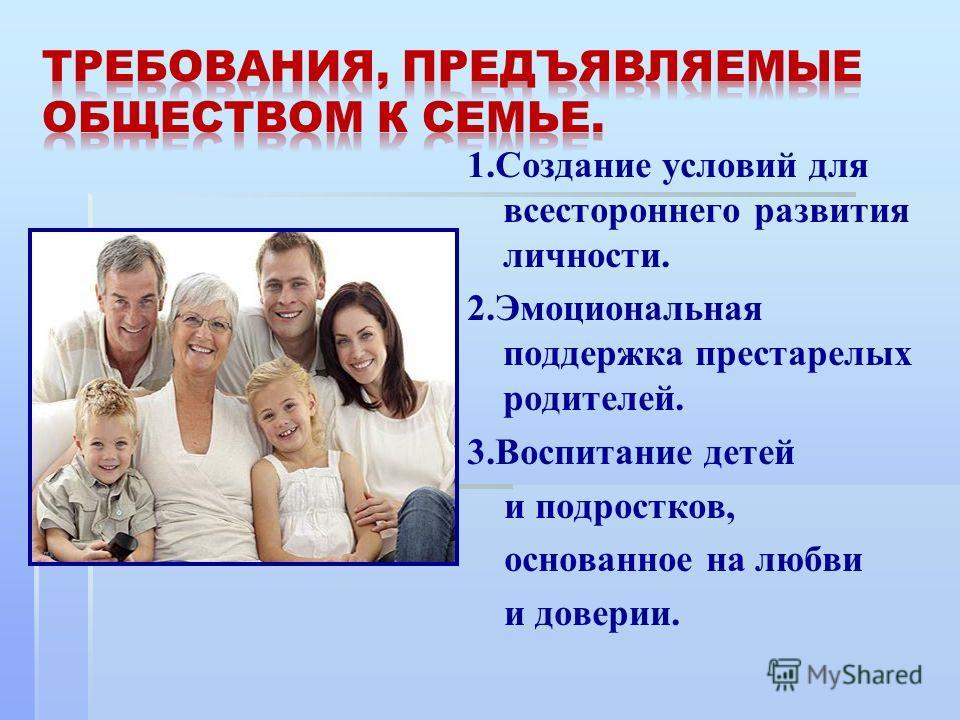1. Создание условий для всестороннего развития личности. 2. Эмоциональная поддержка престарелых родителей. 3. Воспитание детей и подростков, основанное на любви и доверии.