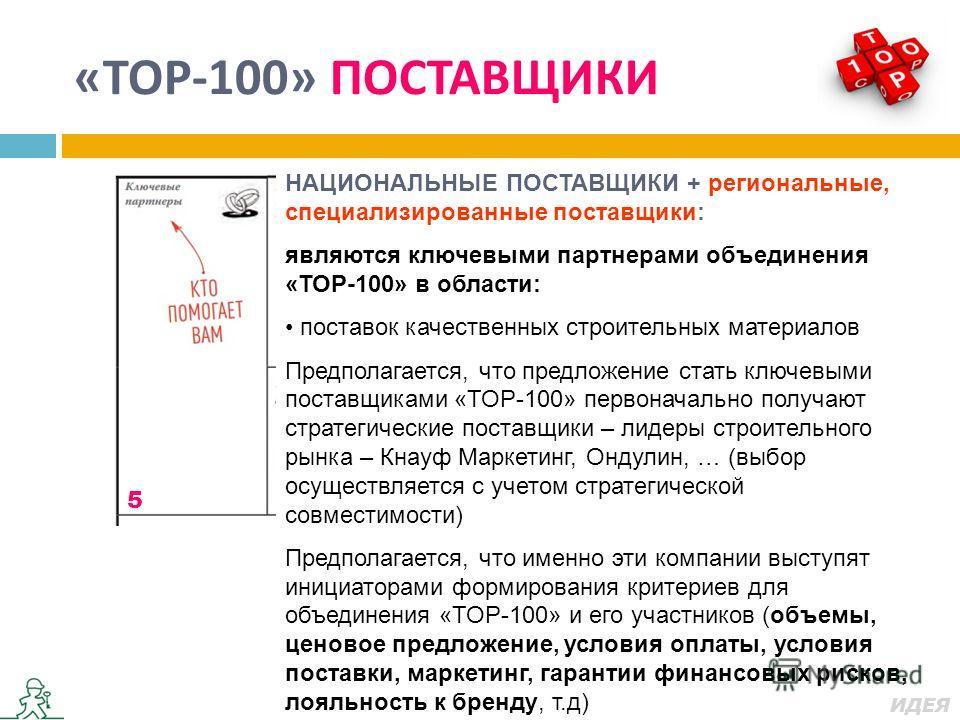« ТОР -100» ПОСТАВЩИКИ 12 3 4 5 5 7 8 НАЦИОНАЛЬНЫЕ ПОСТАВЩИКИ + региональные, специализированные поставщики: являются ключевыми партнерами объединения «ТОР-100» в области: поставок качественных строительных материалов Предполагается, что предложение