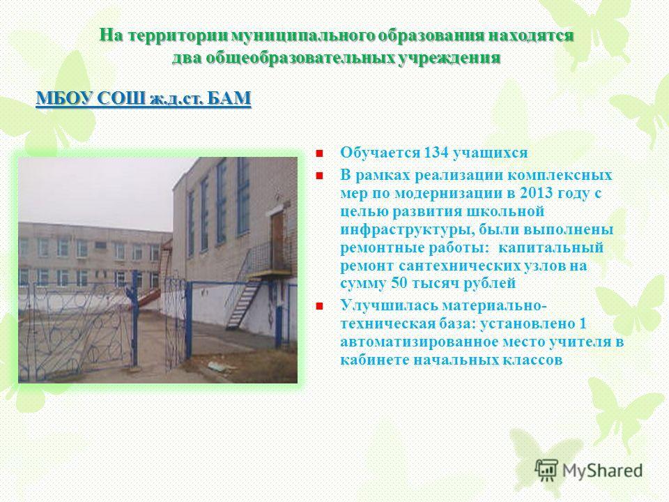 На территории муниципального образования находятся два общеобразовательных учреждения МБОУ СОШ ж.д.ст. БАМ Обучается 134 учащихся В рамках реализации комплексных мер по модернизации в 2013 году с целью развития школьной инфраструктуры, были выполнены