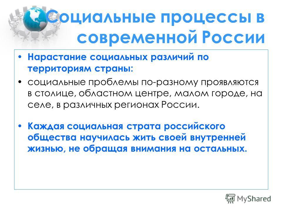 Социальные процессы в современной России Нарастание социальных различий по территориям страны: социальные проблемы по-разному проявляются в столице, областном центре, малом городе, на селе, в различных регионах России. Каждая социальная страта россий