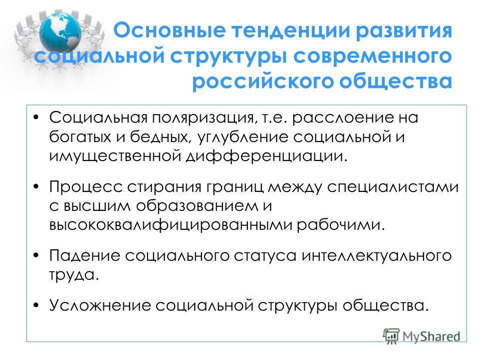 Основные тенденции развития социальной структуры современного российского общества Социальная поляризация, т.е. расслоение на богатых и бедных, углубление социальной и имущественной дифференциации. Процесс стирания границ между специалистами с высшим