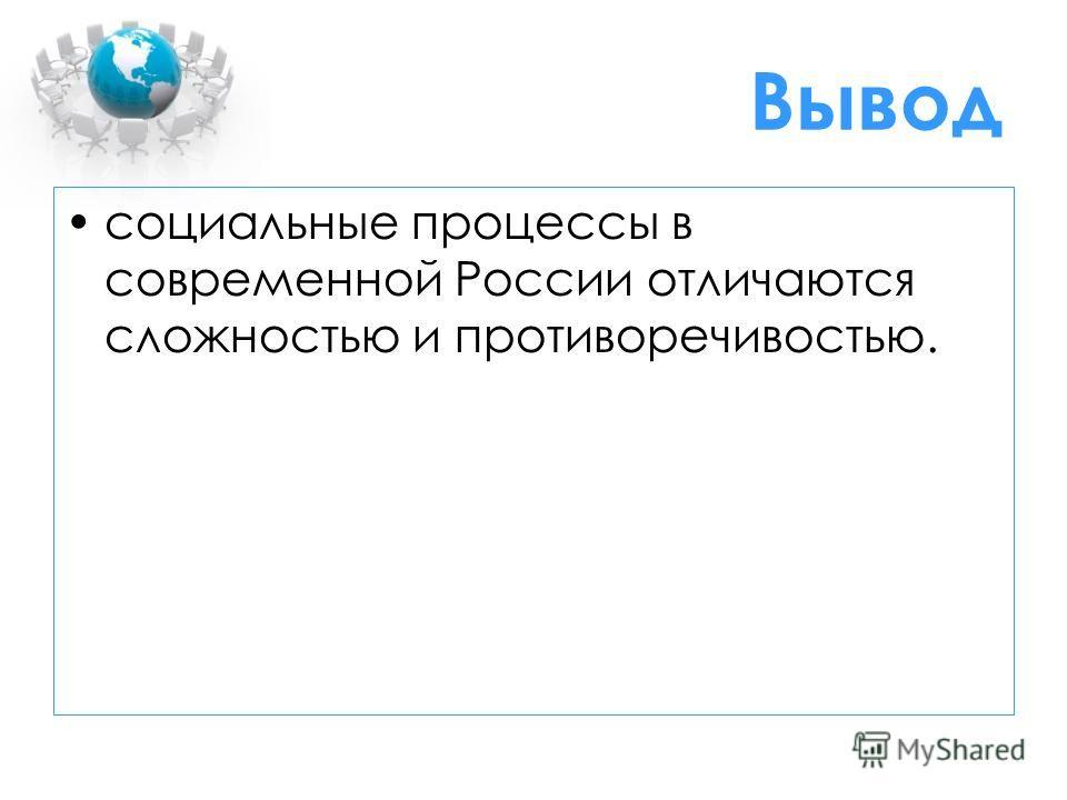 Вывод социальные процессы в современной России отличаются сложностью и противоречивостью.