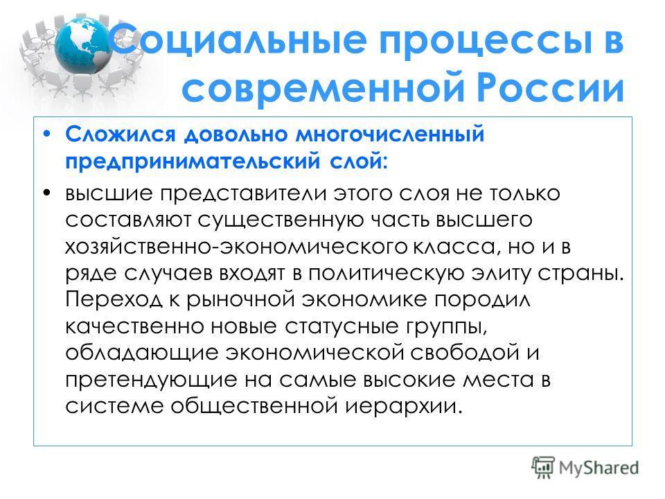 Социальные процессы в современной России Сложился довольно многочисленный предпринимательский слой: высшие представители этого слоя не только составляют существенную часть высшего хозяйственно-экономического класса, но и в ряде случаев входят в полит