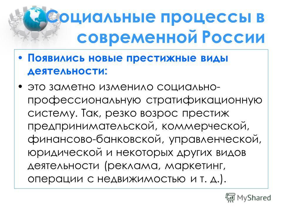Социальные процессы в современной России Появились новые престижные виды деятельности: это заметно изменило социально- профессиональную стратификационную систему. Так, резко возрос престиж предпринимательской, коммерческой, финансово-банковской, упра