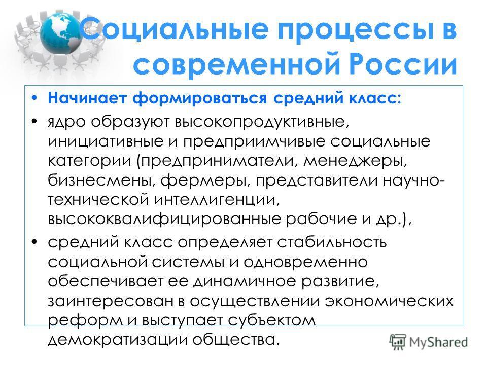 Социальные процессы в современной России Начинает формироваться средний класс: ядро образуют высокопродуктивные, инициативные и предприимчивые социальные категории (предприниматели, менеджеры, бизнесмены, фермеры, представители научно- технической ин