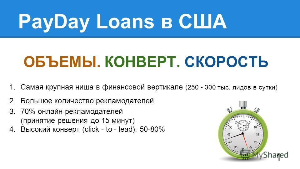 PayDay Loans в США 1. Самая крупная ниша в финансовой вертикале (250 - 300 тыс. лидов в сутки) 2. Большое количество рекламодателей 3.70% онлайн-рекламодателей (принятие решения до 15 минут) 4. Высокий конверт (click - to - lead): 50-80% ОБЪЕМЫ. КОНВ