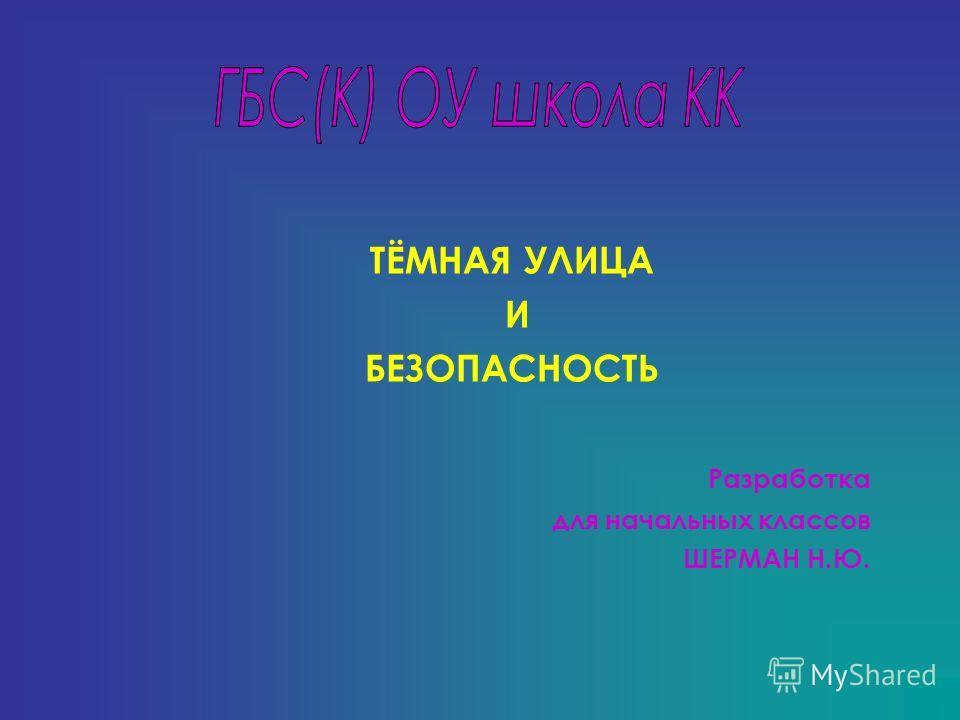 ТЁМНАЯ УЛИЦА И БЕЗОПАСНОСТЬ Разработка для начальных классов ШЕРМАН Н.Ю.