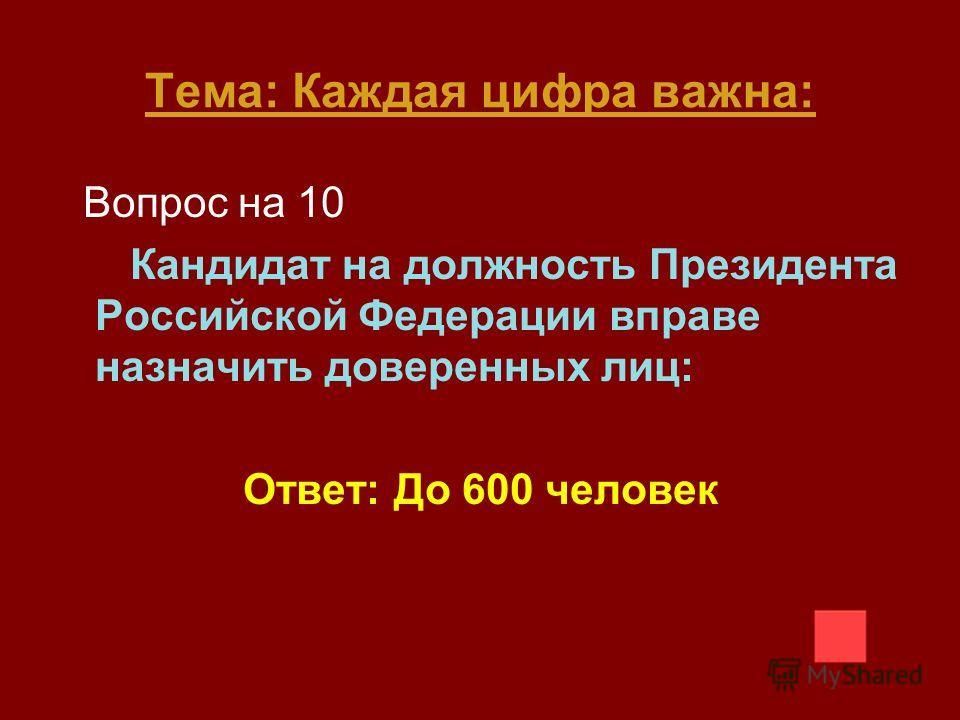 Тема: Каждая цифра важна: Вопрос на 10 Кандидат на должность Президента Российской Федерации вправе назначить доверенных лиц: Ответ: До 600 человек