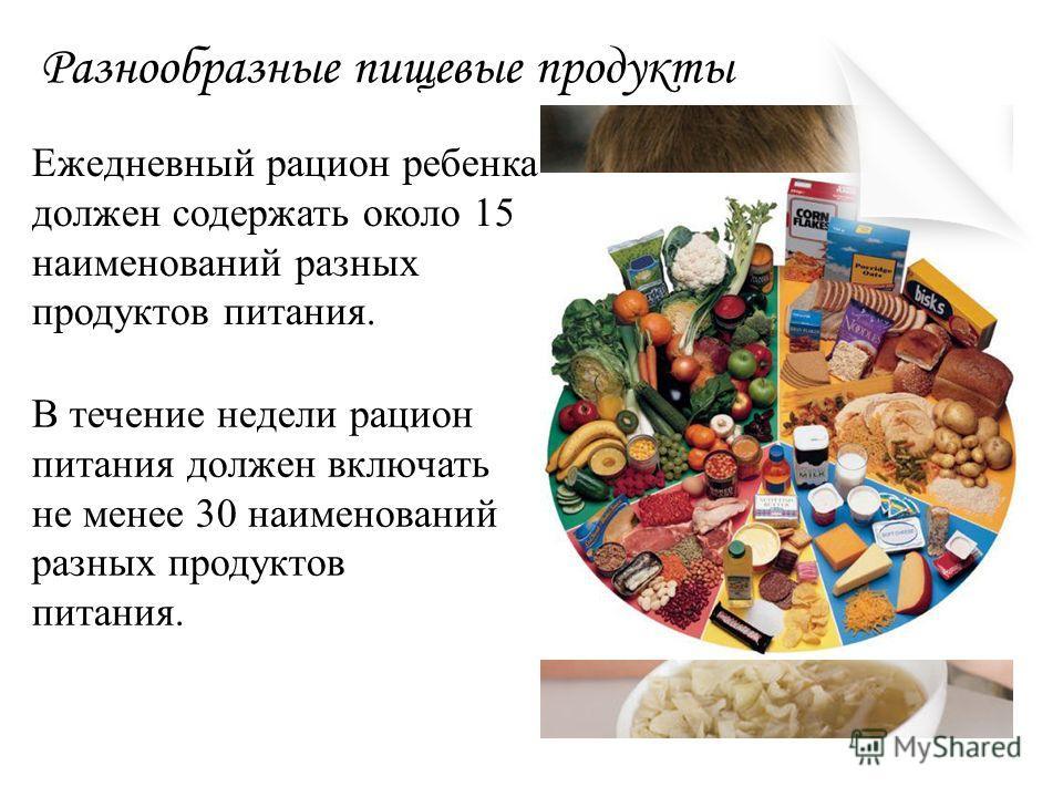 Разнообразные пищевые продукты Ежедневный рацион ребенка должен содержать около 15 наименований разных продуктов питания. В течение недели рацион питания должен включать не менее 30 наименований разных продуктов питания.
