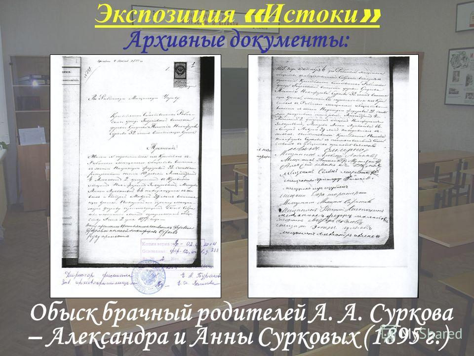 Экспозиция « Истоки » Обыск брачный родителей А. А. Суркова – Александра и Анны Сурковых (1895 г.) Архивные документы: