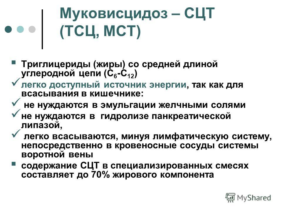 Муковисцидоз – СЦТ (ТСЦ, МСТ) Триглицериды (жиры) со средней длиной углеродной цепи (С 6 -С 12 ) легко доступный источник энергии, так как для всасывания в кишечнике: не нуждаются в эмульгации желчными солями не нуждаются в гидролизе панкреатической