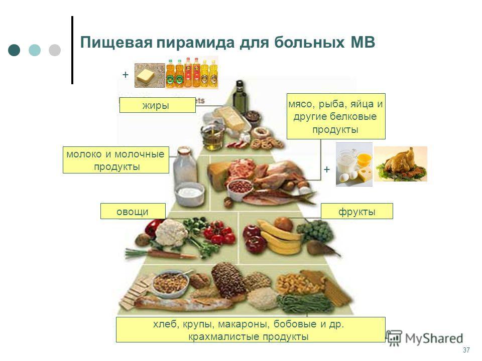 37 Пищевая пирамида для больных МВ жиры мясо, рыба, яйца и другие белковые продукты молоко и молочные продукты овощи хлеб, крупы, макароны, бобовые и др. крахмалистые продукты фрукты + +