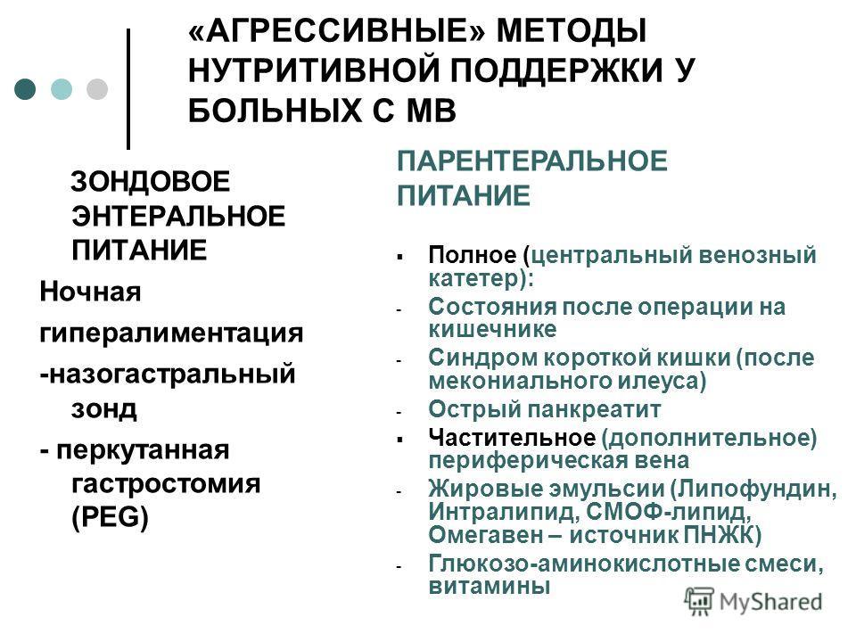 «АГРЕССИВНЫЕ» МЕТОДЫ НУТРИТИВНОЙ ПОДДЕРЖКИ У БОЛЬНЫХ С МВ ЗОНДОВОЕ ЭНТЕРАЛЬНОЕ ПИТАНИЕ Ночная гипералиментация -назогастральный зонд - перкутанная гастростомия (PEG) ПАРЕНТЕРАЛЬНОЕ ПИТАНИЕ Полное (центральный венозный катетер): - Состояния после опер