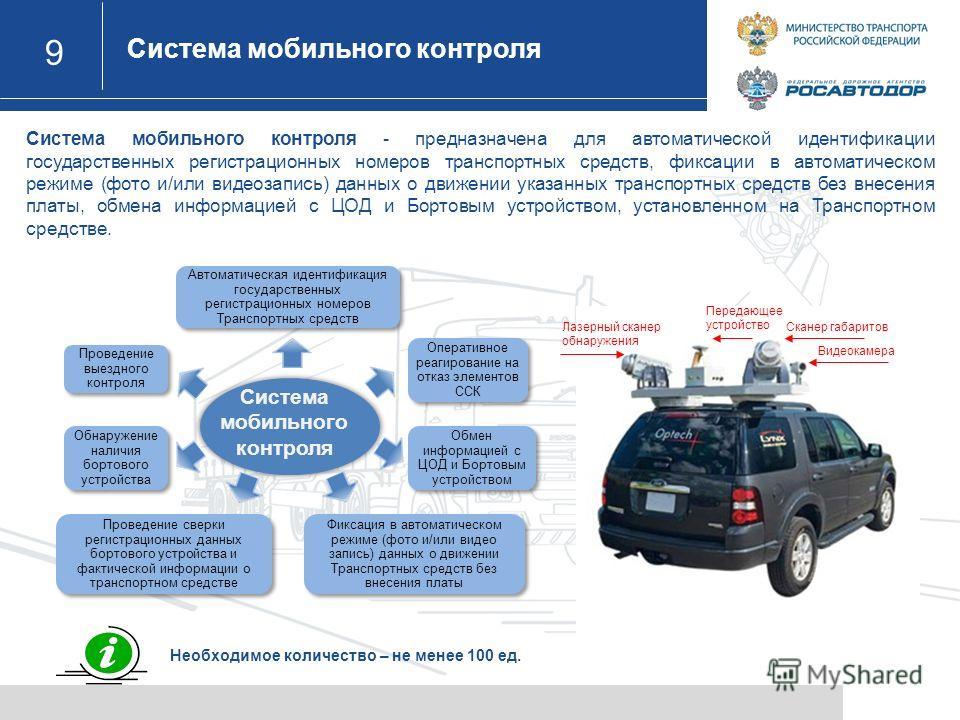 9 Система мобильного контроля Назначение Лазерный сканер обнаружения Сканер габаритов Видеокамера Передающее устройство Необходимое количество – не менее 100 ед. Система мобильного контроля - предназначена для автоматической идентификации государстве
