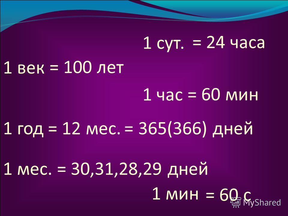 1 век = 100 лет 1 год = 12 мес. 1 мес. = 365(366) дней = 30,31,28,29 дней 1 сут. = 24 часа 1 час = 60 мин = 60 с 1 мин