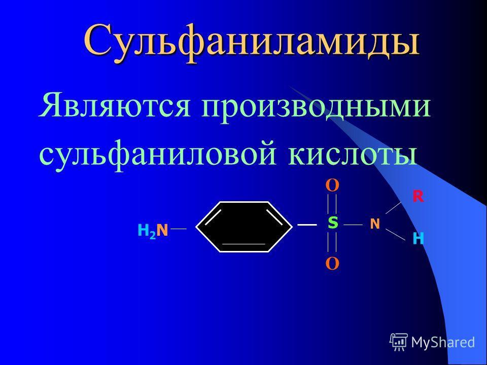 Сульфаниламиды Являются производными сульфаниловой кислоты S O O H2NH2N N R H