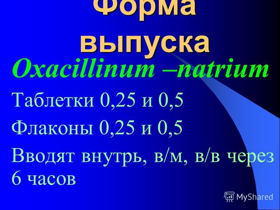 Форма выпуска Oxacillinum –natrium Таблетки 0,25 и 0,5 Флаконы 0,25 и 0,5 Вводят внутрь, в/м, в/в через 6 часов