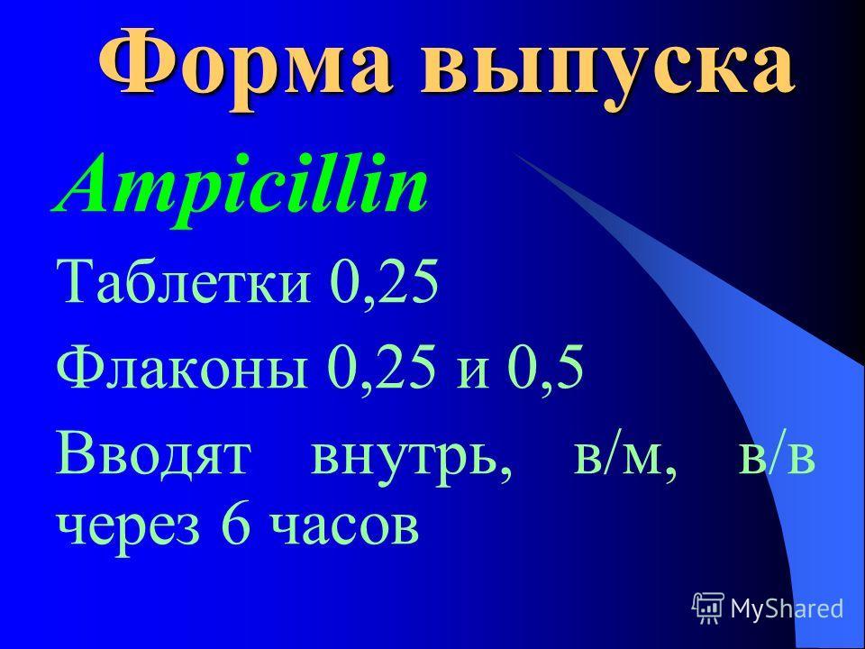 Форма выпуска Ampicillin Таблетки 0,25 Флаконы 0,25 и 0,5 Вводят внутрь, в/м, в/в через 6 часов