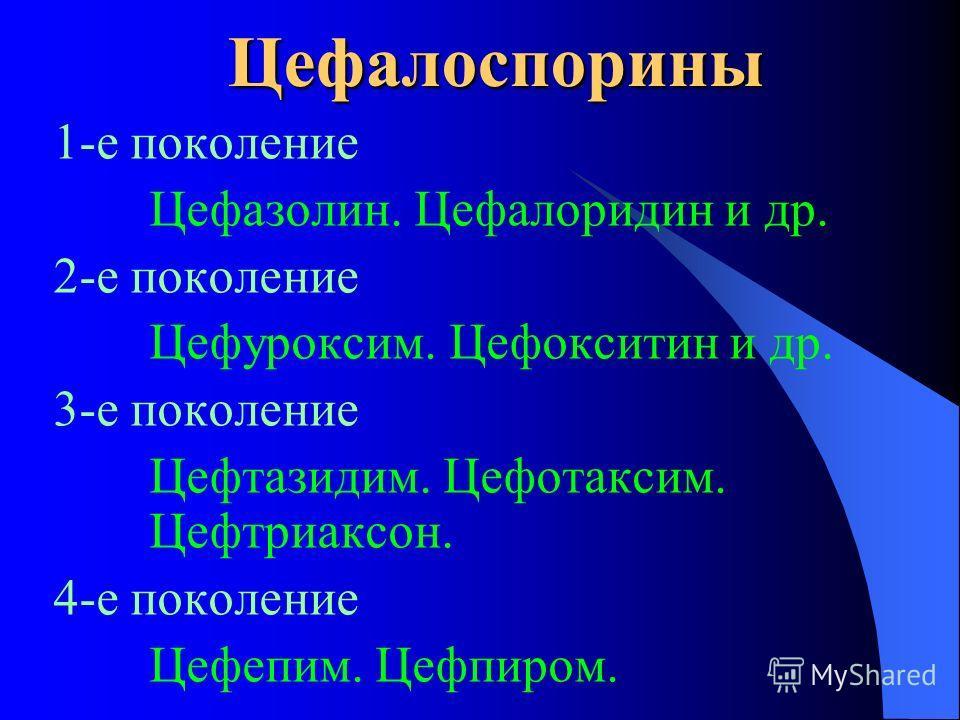 Цефалоспорины 1-е поколение Цефазолин. Цефалоридин и др. 2-е поколение Цефуроксим. Цефокситин и др. 3-е поколение Цефтазидим. Цефотаксим. Цефтриаксон. 4-е поколение Цефепим. Цефпиром.