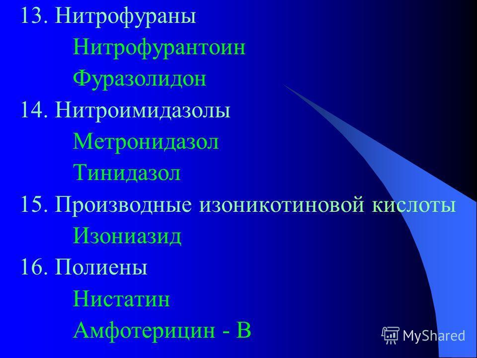 13. Нитрофураны Нитрофурантоин Фуразолидон 14. Нитроимидазолы Метронидазол Тинидазол 15. Производные изоникотиновой кислоты Изониазид 16. Полиены Нистатин Амфотерицин - В