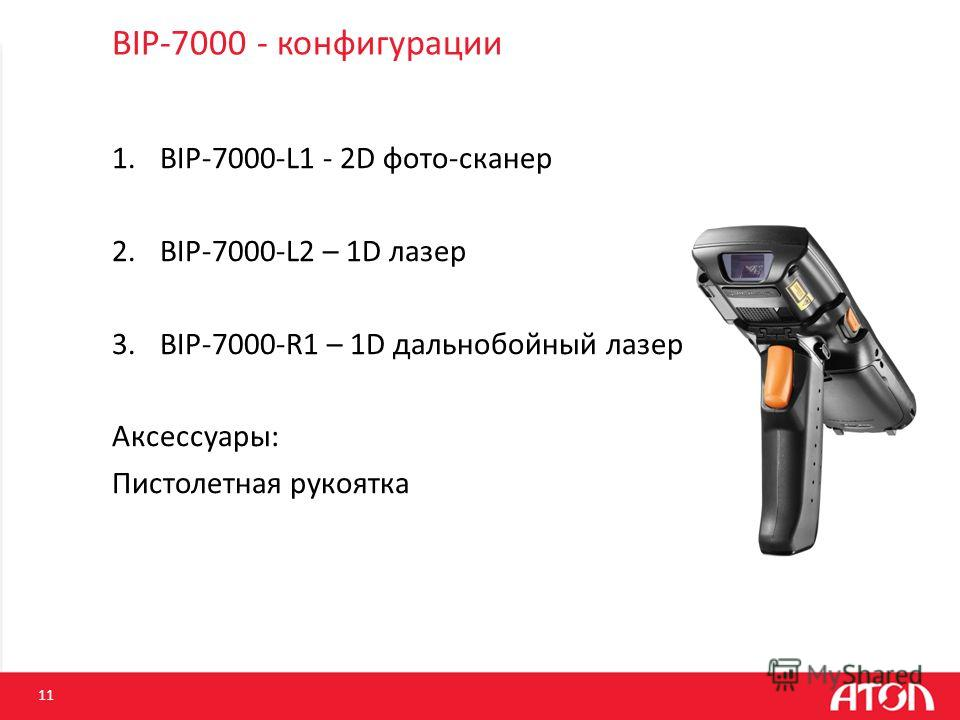 BIP-7000 - конфигурации 1.BIP-7000-L1 - 2D фото-сканер 2.BIP-7000-L2 – 1D лазер 3.BIP-7000-R1 – 1D дальнобойный лазер Аксессуары: Пистолетная рукоятка 11