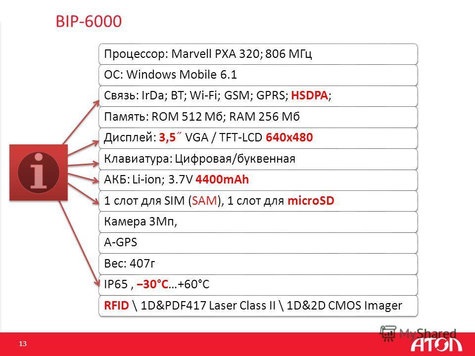 BIP-6000 Процессор: Marvell PXA 320; 806 МГцОС: Windows Mobile 6.1Связь: IrDa; BT; Wi-Fi; GSM; GPRS; HSDPA;Память: ROM 512 Mб; RAM 256 Mб Дисплей: 3,5˝ VGA / TFT-LCD 640x480Клавиатура: Цифровая/буквеннаяАКБ: Li-ion; 3.7V 4400mAh1 слот для SIM (SAM),