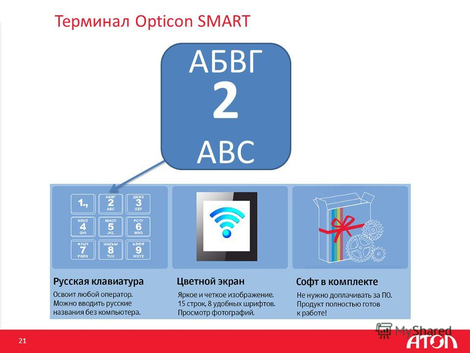 Терминал Opticon SMART 21 АБВГ 2 ABC