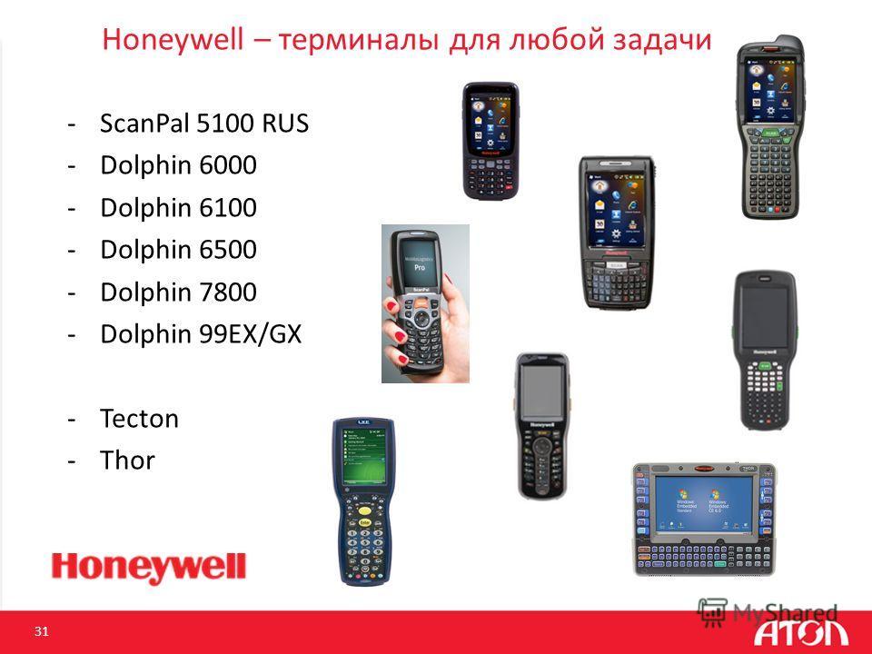 Honeywell – терминалы для любой задачи -ScanPal 5100 RUS -Dolphin 6000 -Dolphin 6100 -Dolphin 6500 -Dolphin 7800 -Dolphin 99EX/GX -Tecton -Thor 31