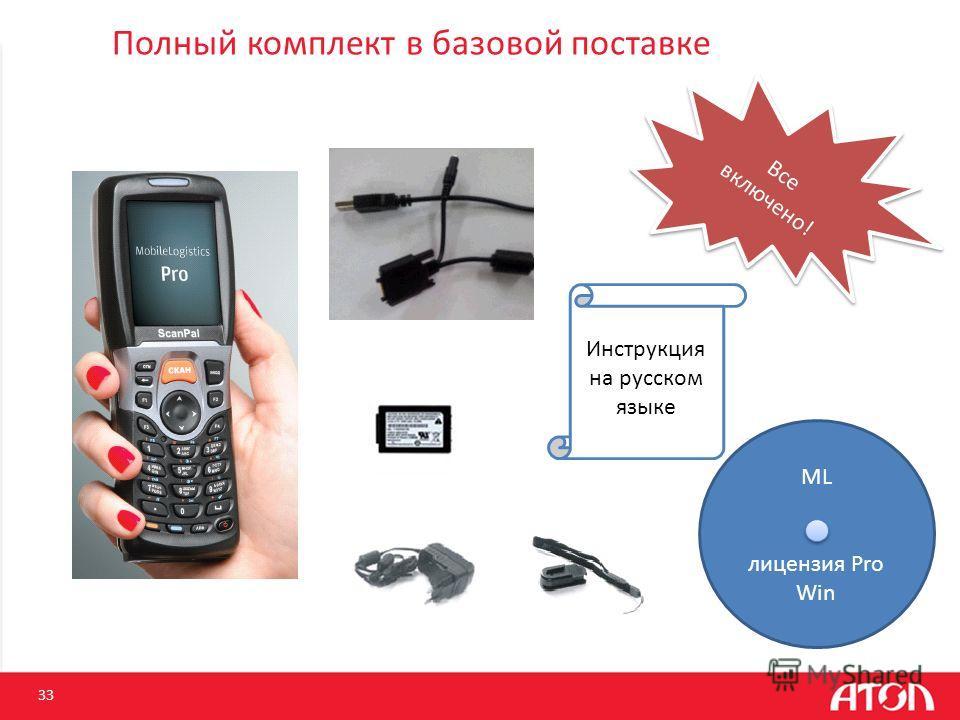 Полный комплект в базовой поставке 33 ML лицензия Pro Win Все включено! Инструкция на русском языке