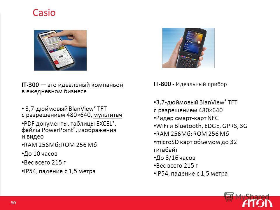 Casio IT-300 это идеальный компаньон в ежедневном бизнесе 3,7-дюймовый BlanView ® TFT с разрешением 480×640, мультитач PDF документы, таблицы EXCEL ®, файлы PowerPoint ®, изображения и видео RAM 256Мб; ROM 256 Мб До 10 часов Вес всего 215 г IP54, пад