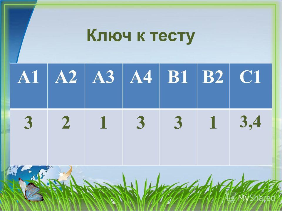 Ключ к тесту А1А2А3А4В1В2С1 321331 3,4