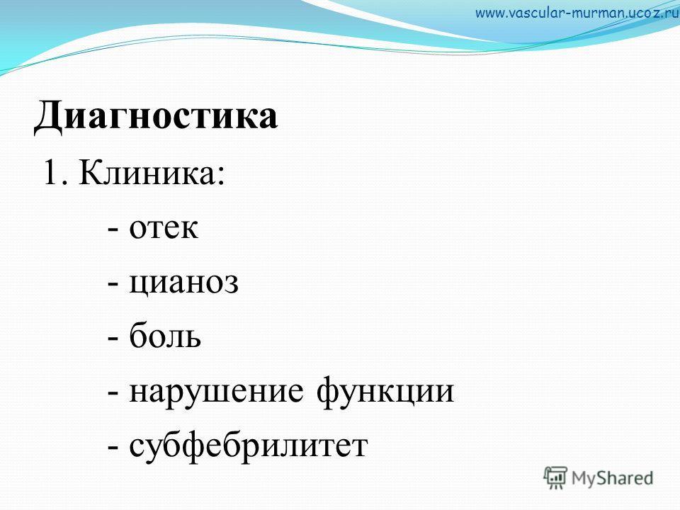 Диагностика 1. Клиника: - отек - цианоз - боль - нарушение функции - субфебрилитет www.vascular-murman.ucoz.ru