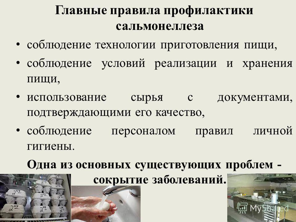 Главные правила профилактики сальмонеллеза соблюдение технологии приготовления пищи, соблюдение условий реализации и хранения пищи, использование сырья с документами, подтверждающими его качество, соблюдение персоналом правил личной гигиены. Одна из