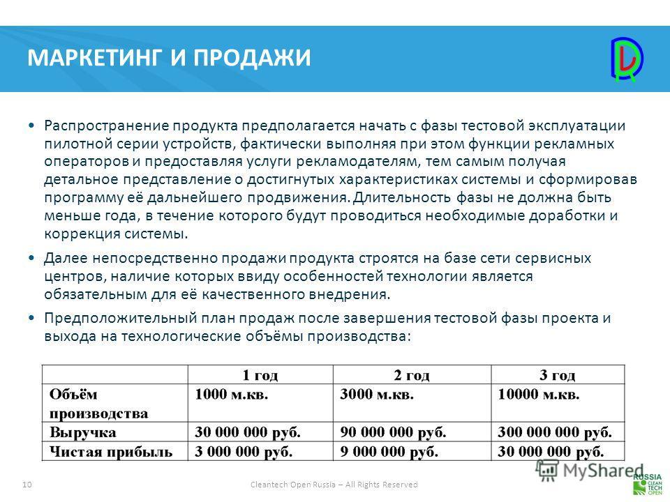 10Cleantech Open Russia – All Rights Reserved МАРКЕТИНГ И ПРОДАЖИ Распространение продукта предполагается начать с фазы тестовой эксплуатации пилотной серии устройств, фактически выполняя при этом функции рекламных операторов и предоставляя услуги ре