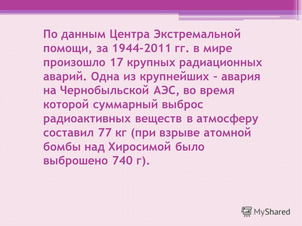 По данным Центра Экстремальной помощи, за 1944–2011 гг. в мире произошло 17 крупных радиационных аварий. Одна из крупнейших – авария на Чернобыльской АЭС, во время которой суммарный выброс радиоактивных веществ в атмосферу составил 77 кг (при взрыве