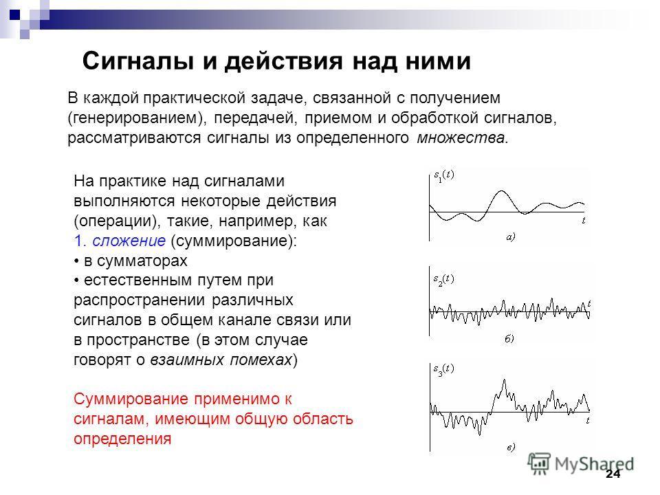 24 Сигналы и действия над ними В каждой практической задаче, связанной с получением (генерированием), передачей, приемом и обработкой сигналов, рассматриваются сигналы из определенного множества. На практике над сигналами выполняются некоторые действ
