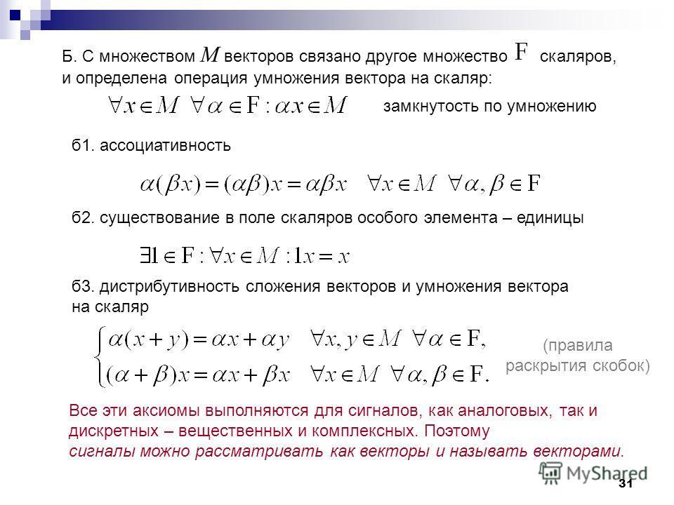 31 Б. C множеством М векторов связано другое множество скаляров, и определена операция умножения вектора на скаляр: б 1. ассоциативность б 2. существование в поле скаляров особого элемента – единицы б 3. дистрибутивность сложения векторов и умножения