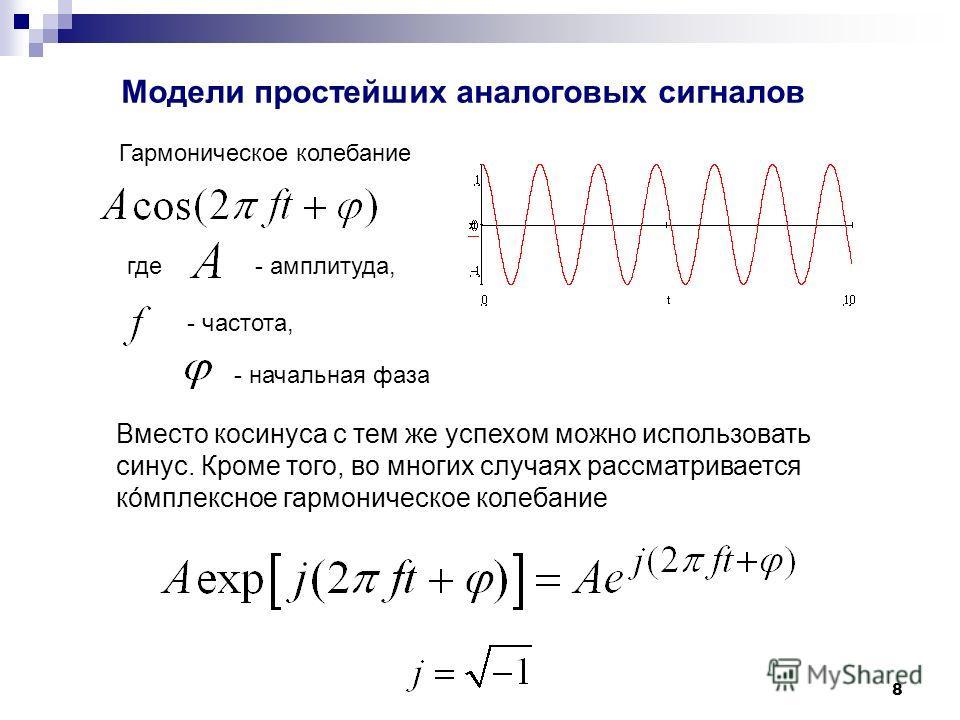 8 Модели простейших аналоговых сигналов Гармоническое колебание где- амплитуда, - частота, - начальная фаза Вместо косинуса с тем же успехом можно использовать синус. Кроме того, во многих случаях рассматривается кóмплексное гармоническое колебание