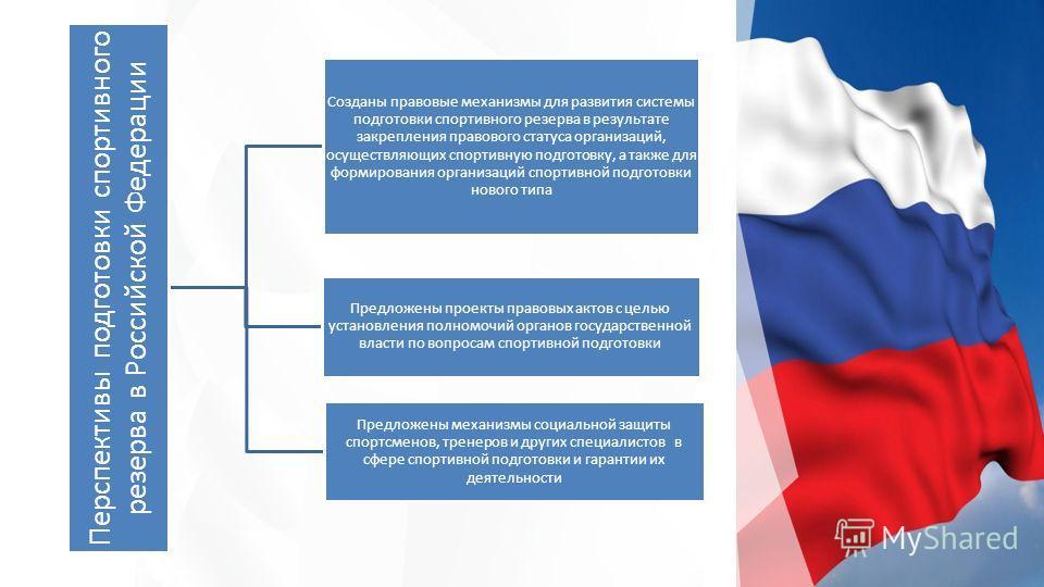 Перспективы подготовки спортивного резерва в Российской Федерации Созданы правовые механизмы для развития системы подготовки спортивного резерва в результате закрепления правового статуса организаций, осуществляющих спортивную подготовку, а также для