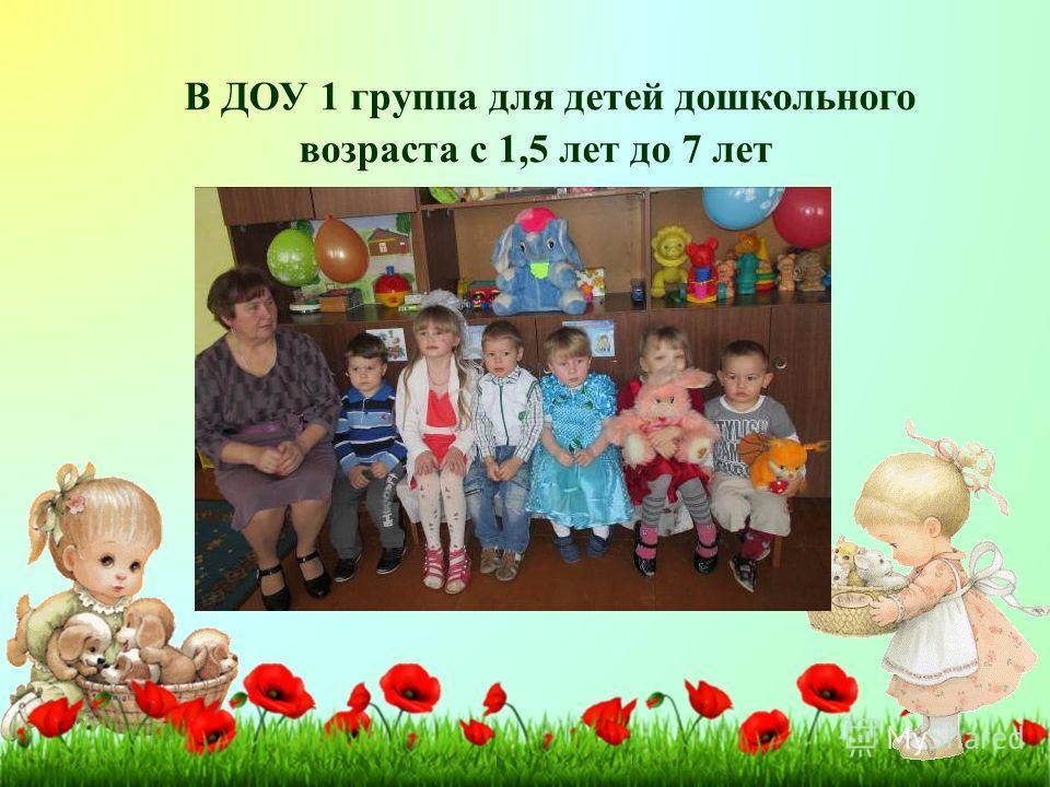 В ДОУ 1 группа для детей дошкольного возраста с 1,5 лет до 7 лет